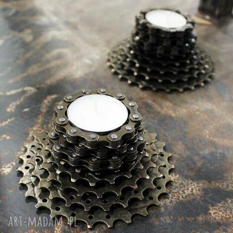 świecznik turret, tealight, mały, stalowy, metalowy, industrialny, loft