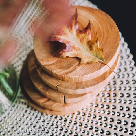 podstawki drewniane 6 sztuk / podkładka pod kubek olcha, skandynawski, skandi