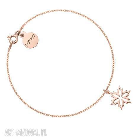 bransoletka ze śnieżynką z różowego złota - bransoletka, śnieg