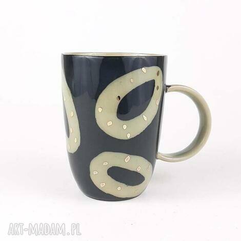 kubeczek do kawy, kamionka, kubek ręcznie malowany, ceramika autorska