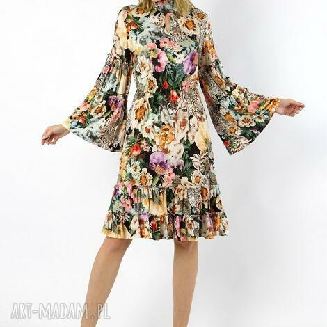 nessa sukienka wiskozowa w kwiaty, sukienka midi, w kwiaty, pastelowa