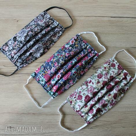 zestaw maseczek bawełnianych - kwiaty, maska, maseczka, maseczki, kolorowe