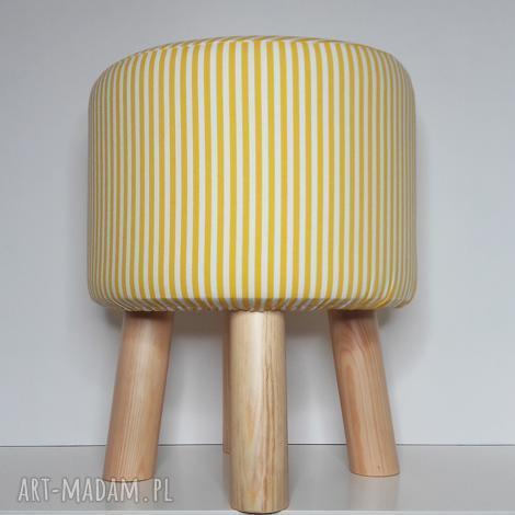 pufa żółte paseczki - 36 cm, puf, taboret, hocker, vintage, siedzisko, ryczka