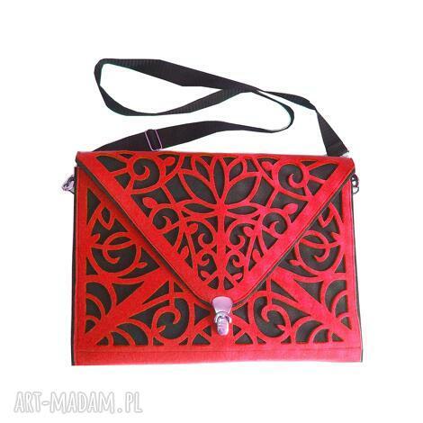 torba na laptopa czerwona, torba, aktówka, filc, ażurowa, laptop, tablet