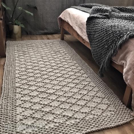 dywan ręcznie dziergany z grubego sznurka diamond 80x160 cm, modern
