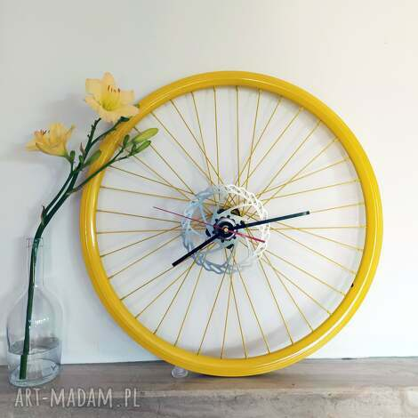 wyjątkowy prezent, zegar electric yellow, z koła rowerowego, prezent