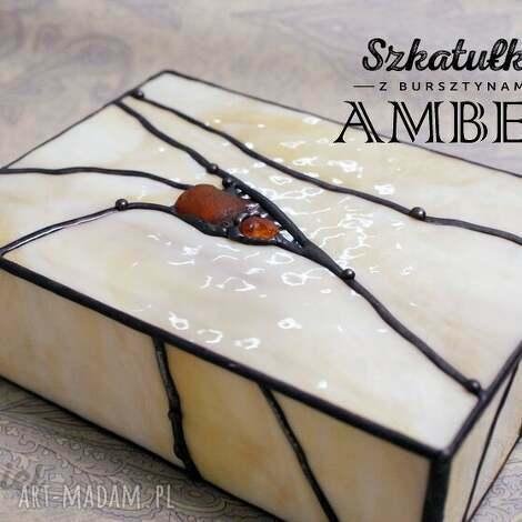 szkatułka witrażowa amber, szkatułka, witraż, witrażowa, bursztyny, bursztyn