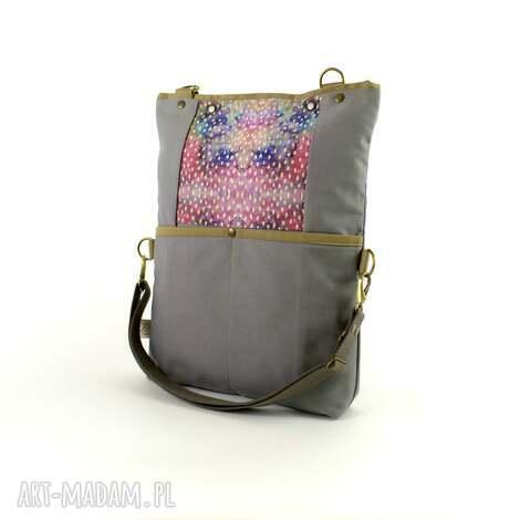 torba na ramię składana z serii duo gray no 3 , boho, miejska, tote, listonoszka