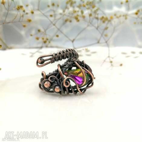 fairy - pierścionek regulowany z kryształem, miedzi, rozmiar