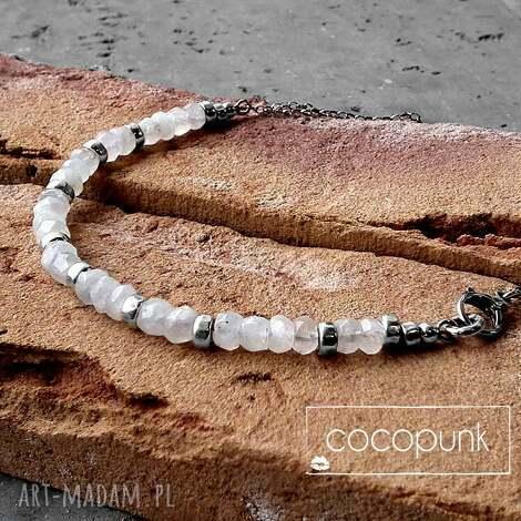 kamieŃ ksiĘŻycowy i srebro-nowoczesny naszyjnik - kamień