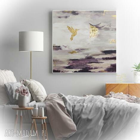 pudrowa skała - obraz ręcznie malowany na płótnie 80x80 cm, spękania
