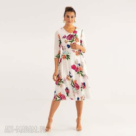 sukienka 5/ss/2021, kolorowa, kwiaty, letnia, wiskoza, zwiewna, wesele