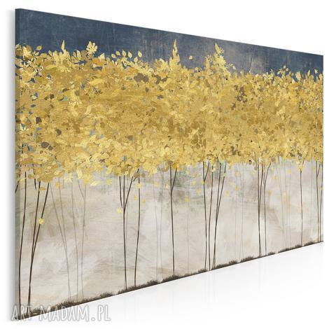 obraz na płótnie - złote drzewa 120x80 cm 77101, drzewa, abstrakcja