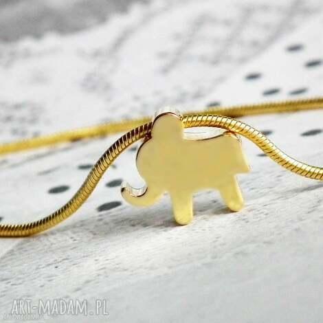 bransoletka ze słonikiem złotym - złota, bransoletka, słonik, słoń