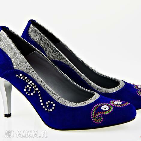 buty szpilki nieba aksamit, folk, ludowe, góralskie, haftowane, naturalne