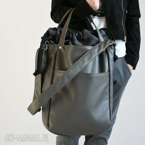 iks pocket szary troczek laptop, vegan, torba, torebka, simple, casual