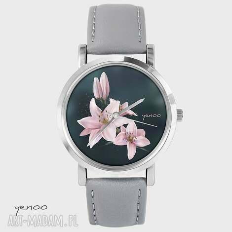 zegarek, bransoletka - lilia szary, skórzany, bransoletka, lilia, kwiat