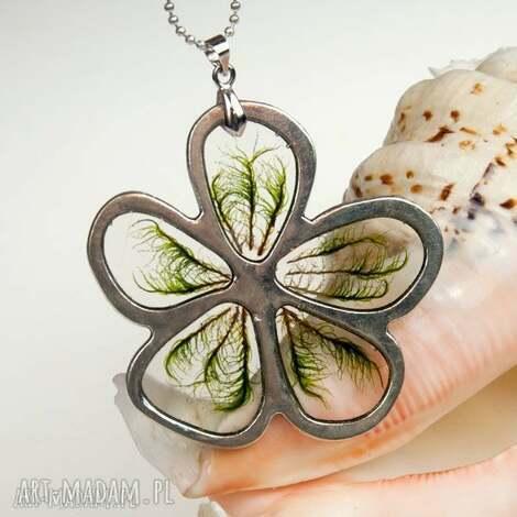 Artseko: c546 naszyjnik kwiat z prawdziwym mchem - wzór, naszyjnik z mchem, biżuteria