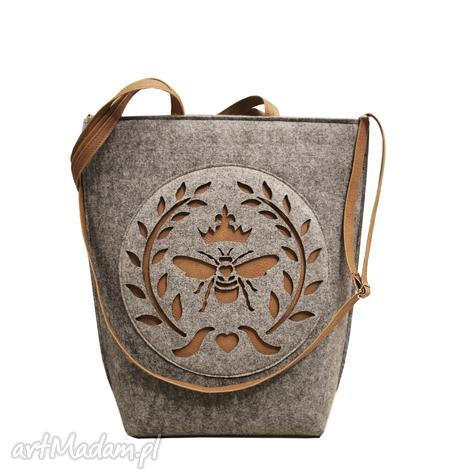 pod choinkę prezent, shopper bag folk mucha, shopper, bag, filc, filcowa