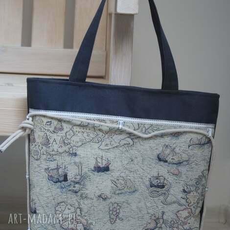 torebka do ręki, marynistyczny motyw, stara mapa, torba, torebka