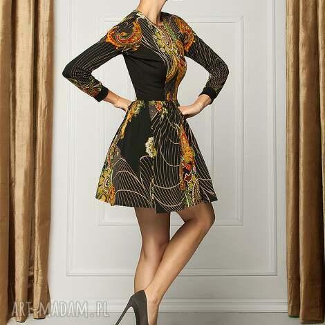 sukienki sukienka z orientalnym printem rd, sukienka, koktailowa, print