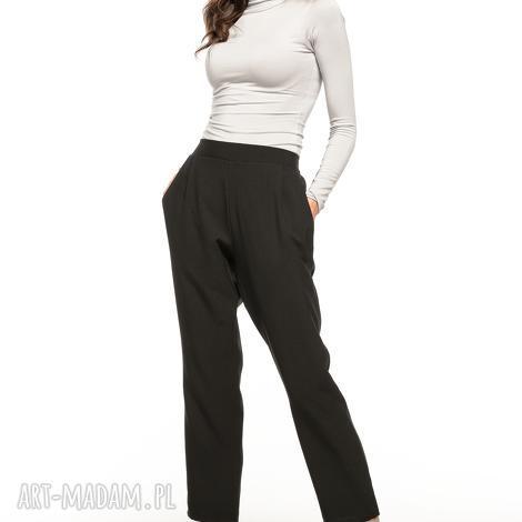 spodnie cygaretki z kieszeniami, t271, czarny - spodnie, cygaretki, kieszenie, zaszewki