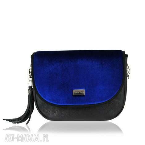torebka puro view skórzana 1319 velvet blue, welur, pojemna, skóra, na-ramię na ramię
