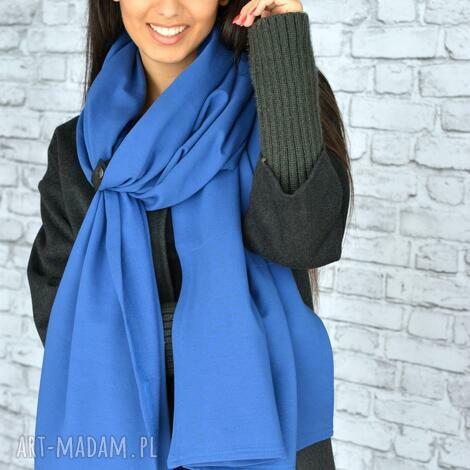 Ekoszale - szal mega duży 250cm niebieski szal niebieski, szalik, szalik gruby, gruby