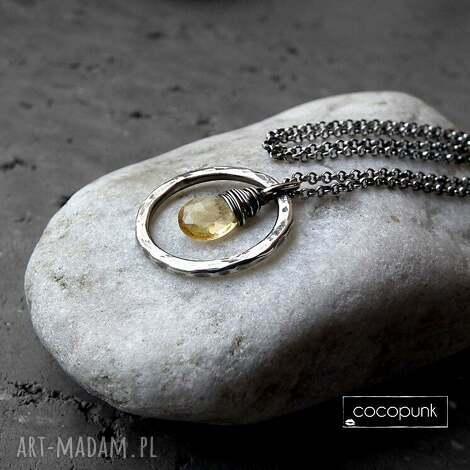 srebrny naszyjnik z cytrynem-do noszenia w kÓŁko - z-kółkiem