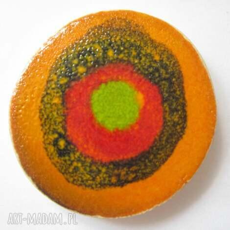 broszka ceramiczna - ceramiczna, kolorowa, efektowa, wiosenna, lato