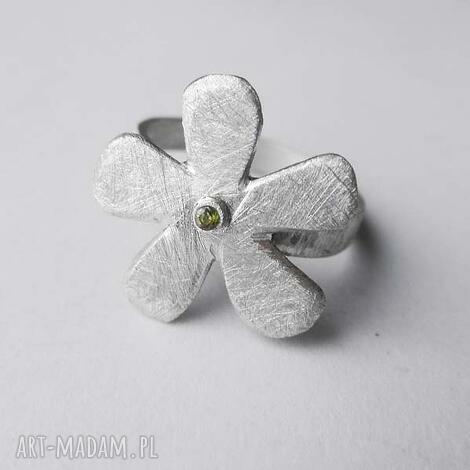 kwiat pierścionek, kwiat, srebro