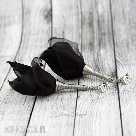 klipsy silk czarne, długie, lekkie, wiszące, eleganckie, materiał, prezent