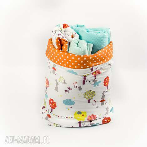 worek kosz na zabawki i inne skarby by looli - kosz, worek, kropki, groszki, handmade