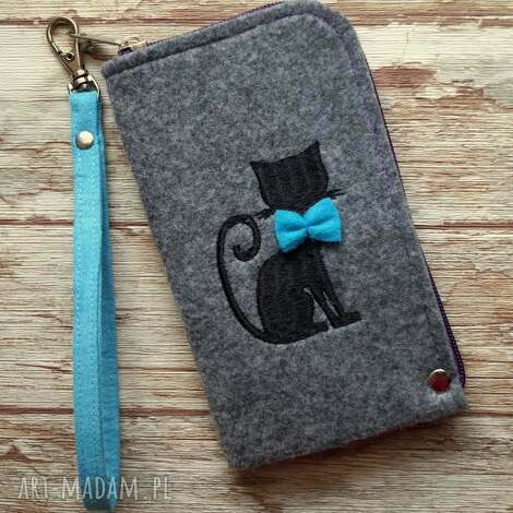 happyart filcowe etui na telefon - kotek, smartfon, filc, haft, prezent
