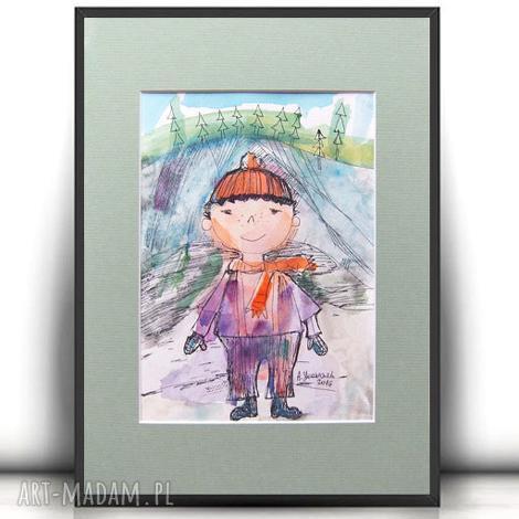 akwarela z chłopcem,chłopczyk obrazek, chłopiec obrazek ręcznie malowany