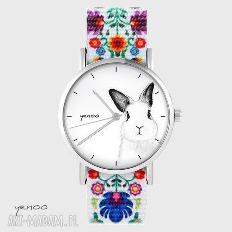 zegarek - królik folk biały, nato, zegarek, bransoletka, folk, królik, nato