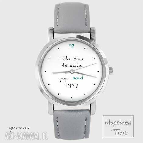 zegarek - make your soul happy skórzany, szary, zegarek, pasek