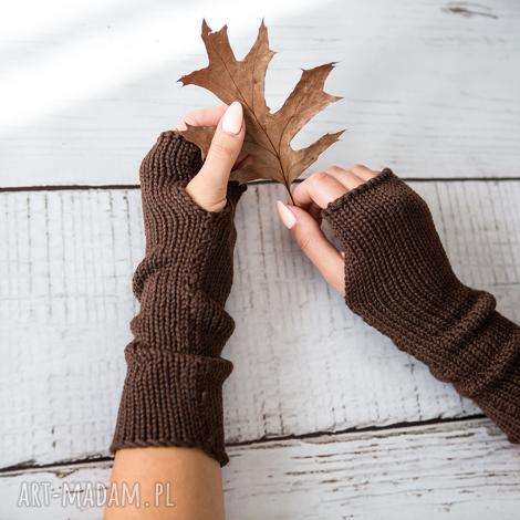 HERMINA - mitenki brązowe mitenki wełniane, rękawiczki bez palców, zimowe