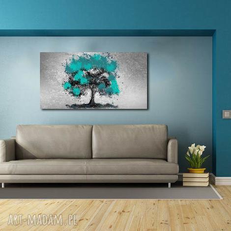 obraz drzewo turkusowe -d3- 120x70cm na płótnie - obraz, na, płótnie