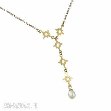 naszyjnik gwiazdki perŁa srebro 925 pozŁacane - naszyjnik, perła, gwiazdki