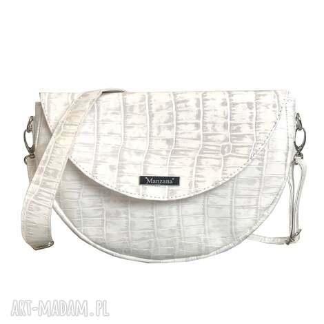 listonoszka klasyczna ponadczasowa elegancka imitacja skÓry wĘŻa biaŁa, torebka