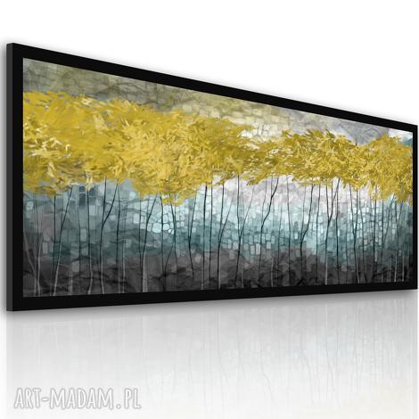 obraz drukowany na płótnie- nowoczesny pejzaż- abstrakcyjne złote drzewa