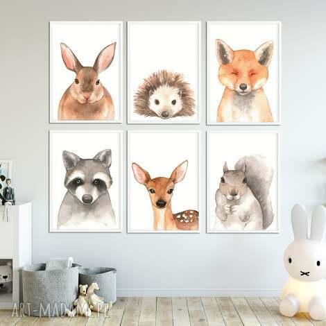 Well Well: galeria las - 6 plakatów a3 ze zwierzętami leśnymi, zwierzęta, zwierzaki