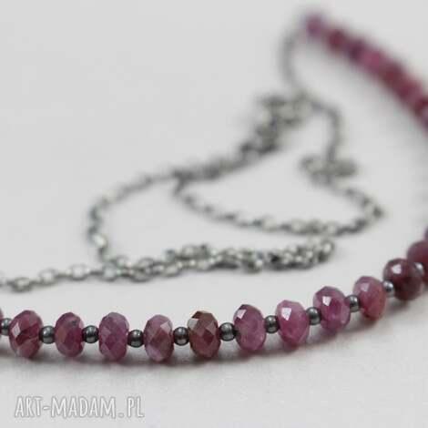 rubiny i srebro - naszyjnik - rubin, srebro, naszyjnik, łańcuszek, biżuteria