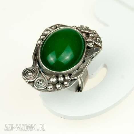 zielona bryza - pierścionek srebrny a566, pierścionek, sygnet, agat, kamień, srebro