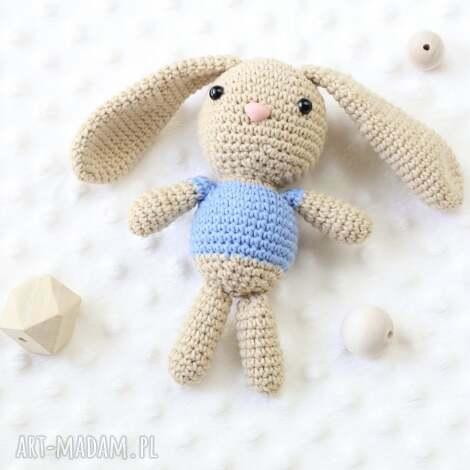 królik stefan - królik, maskotka, zabawka, przytulanka, szydełkowa