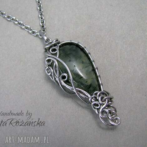 wisiorek prehnit, wire wrapping, stal chirurgiczna - prehnit, wire wrapping, stal