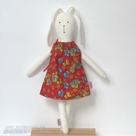 lalki zajączek wielkanocny w czerwonej sukience, zajączek, króliczek, maskotka