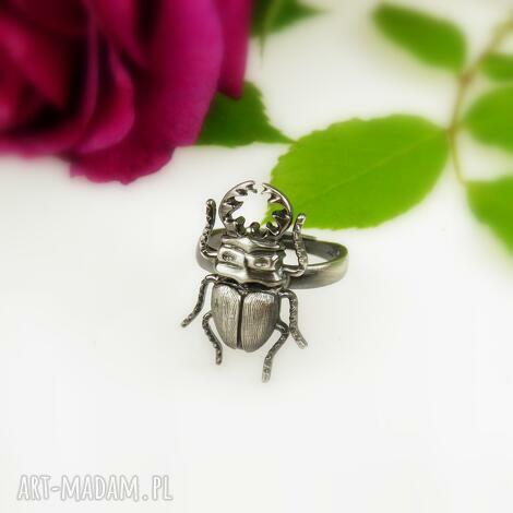 żuczek szary - pierścionek srebrny, pierścionek, żuk, natura, dla niej, prezent