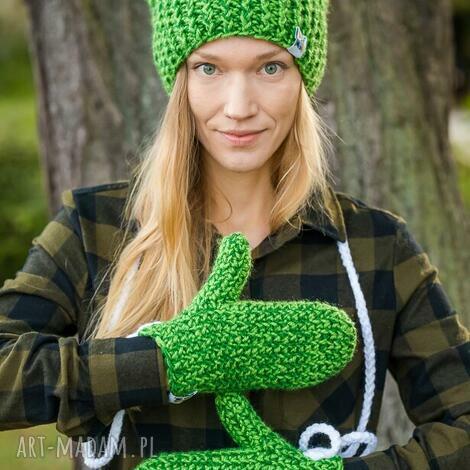 rękawiczki hawaii, na zimę ciepłe zielone, wełniane stylowe